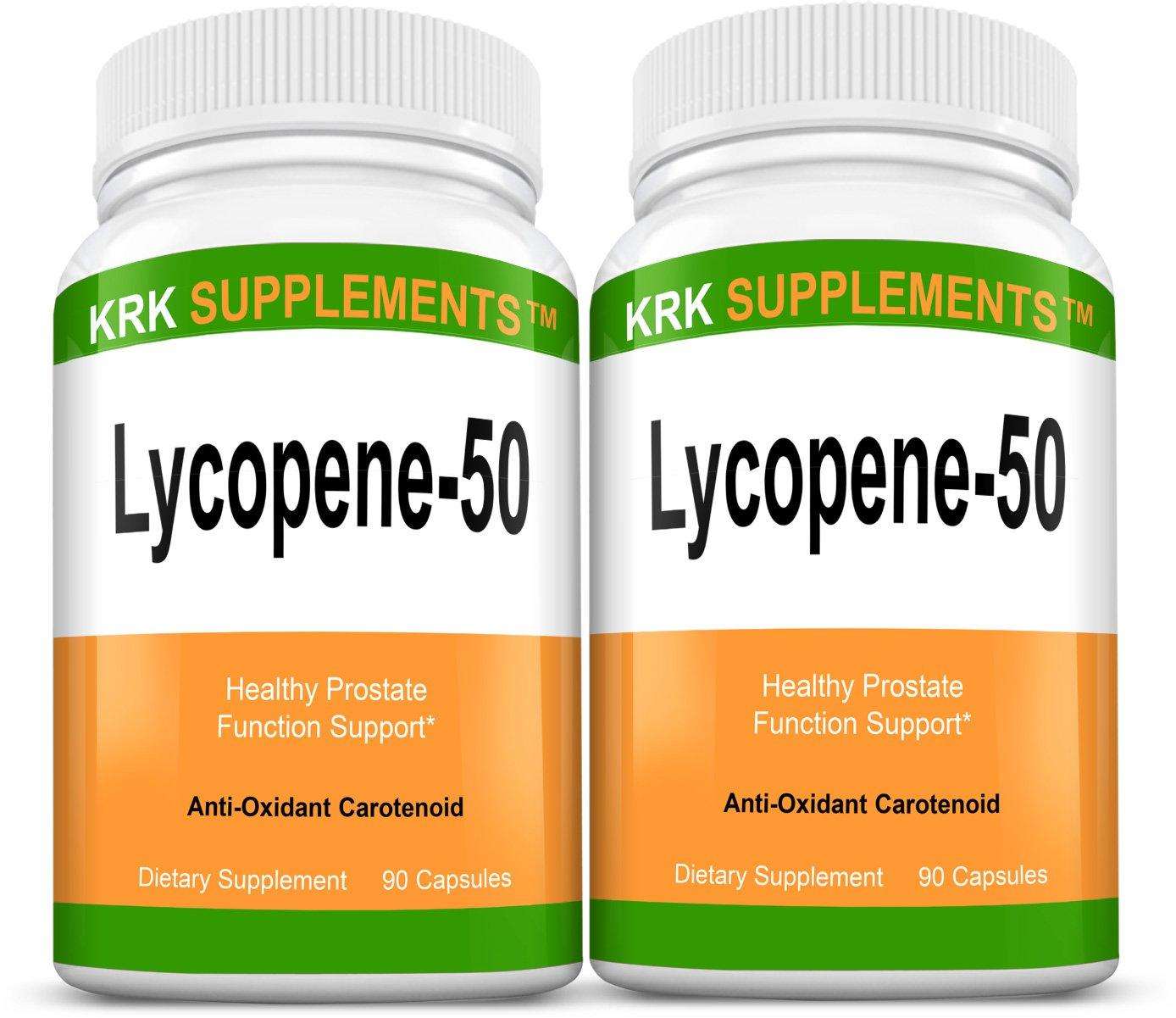 2 Bottles Lycopene 50mg 180 Total Capsules KRK Supplements