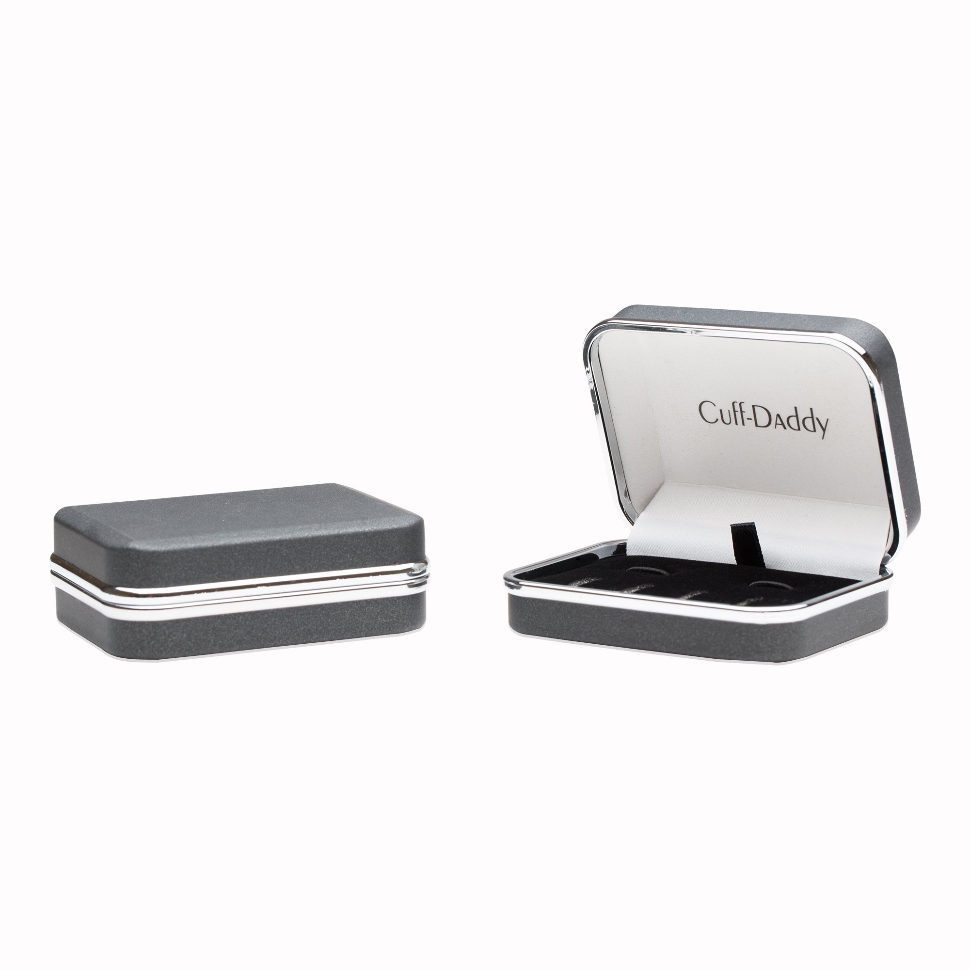 Sterling Silver Plated Black Onyx Cufflinks Studs Formal Set with Presentation Box