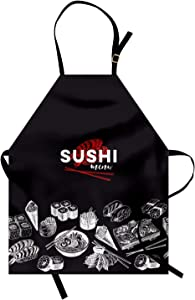 Ambesonne Japan Apron, Vintage Food Sketches for Japanese Sushi Bars Restaurants, Unisex Kitchen Bib with Adjustable Neck for Cooking Gardening, Adult Size, White Charcoal Grey