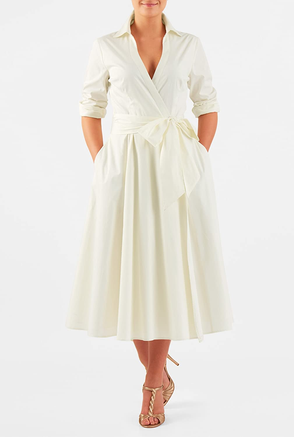 1950s Style Wedding Dresses eShakti Womens Cotton poplin sash tie wrap dress $52.95 AT vintagedancer.com