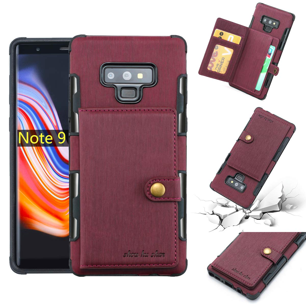 DAMONDY Galaxy Note 9 Case,Luxury Brushed Wallet Card Holders Slot Design Cover Soft Shockproof Bumper Premium Leather Magnetic Protective Case for Samsung Galaxy Note 9 (2018)-Wine red by DAMONDY