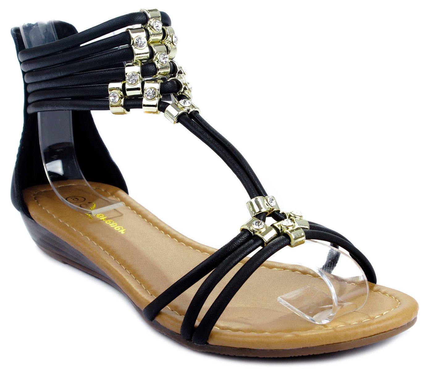 Filosia28 T-Strappy Cord Gold Accent Rhinestone Ankle Cuff Wedge Dress Sandals B00WTMQJSY 6 B(M) US Black