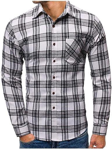 Heetey Camisa para hombre, camisa a cuadros, camisa de ocio ...