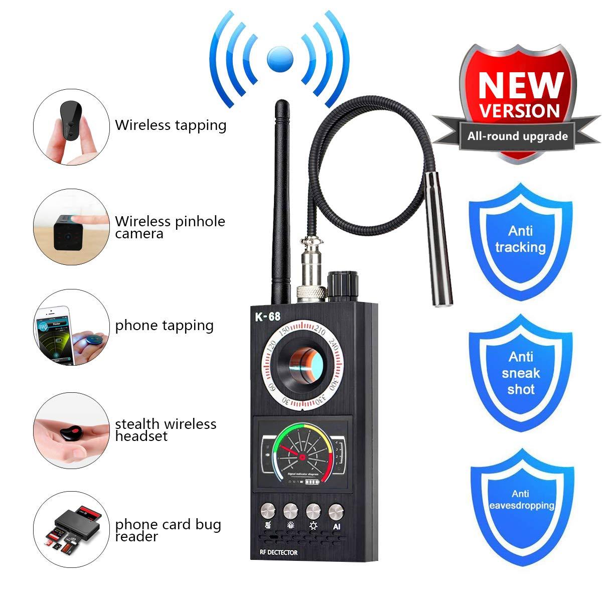 Anti Spy Detector, Bug Detector, Upgraded Artificial Intelligent KORKUAN RF Detector, Hidden Camera Detectors, Camera Finder for Wireless Audio Bug Camera Detector Finder