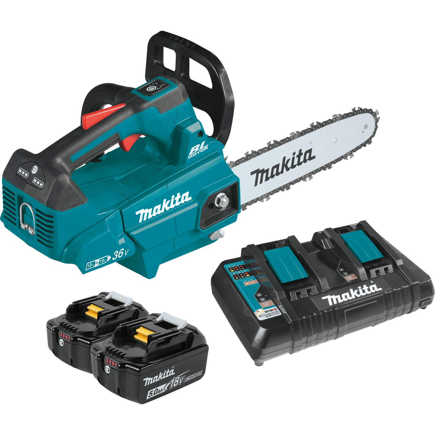 Makita XCU08PT Lithium-Ion Brushless Cordless 5.0Ah 18V X2 36V LXT 14 Top Handle Chain Saw Kit, Teal