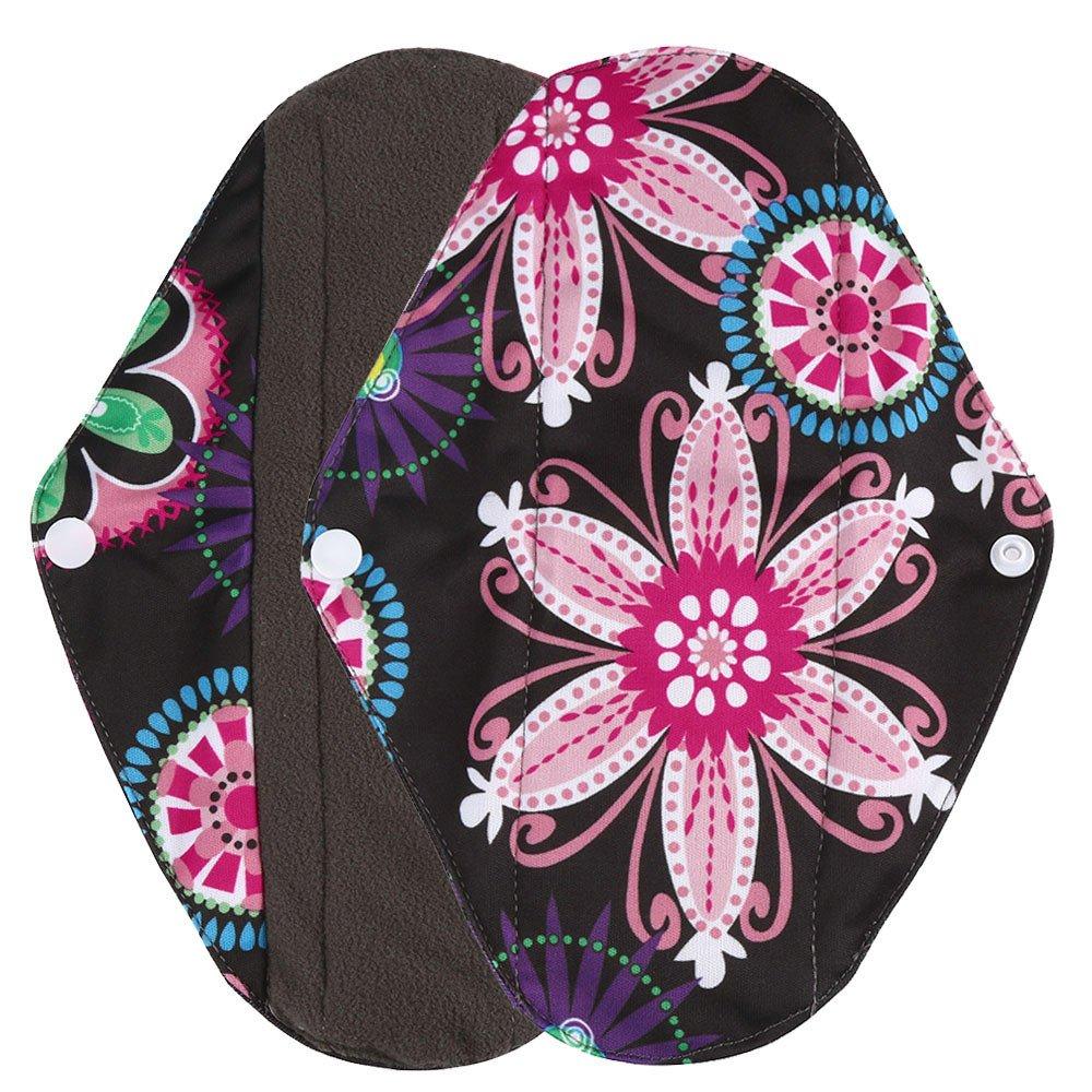 Polwer Sanitary Reusable Cloth Menstrual Pads, Washable Sanitary Napkins - Mama Cloth Panty Liner (L, Black)