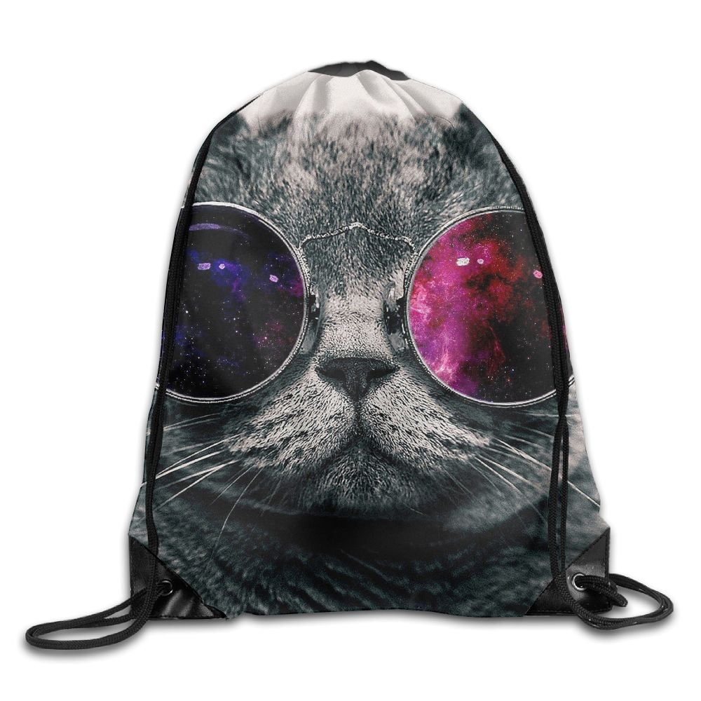 WSXEDC Drawstring Bag Cool Cat Wear Glasses Durable Backpack For Yoga Sport Travel