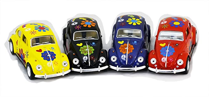 Diecast Cars-Set of 4 Cars: 5 VW Happy Flower Classic Beetle 1/32 Scale, Pull Back n Go Action.