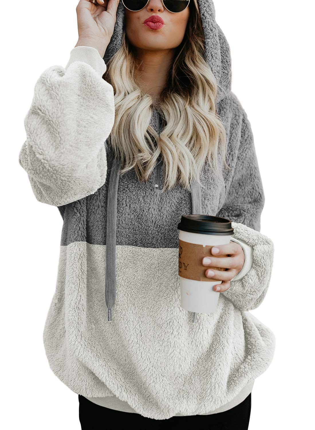 Acelitt Women Plus Size Cozy Thick Fuzzy Sweatshirt Casual Loose Sweatshirt Hoodies Fleece Pullover with Pockets Grey White XX-Large XXL