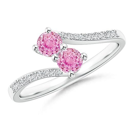 Angara Split Shank Classic Two Stone Pink Sapphire Bypass Ring mq2ytGYGx