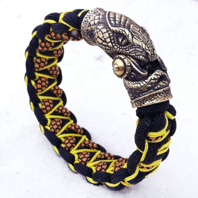 1//2 serpents Bead Bracelet Fermeture Paracord Lanyard tete de mort v03