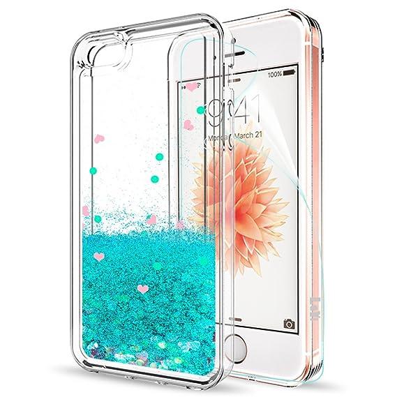 eb8d5af694e LeYi Funda iPhone SE / 5S / 5 Silicona Purpurina Carcasa con HD Protectores  de Pantalla,Transparente Cristal Bumper Telefono Gel TPU Fundas Case Cover  Para ...