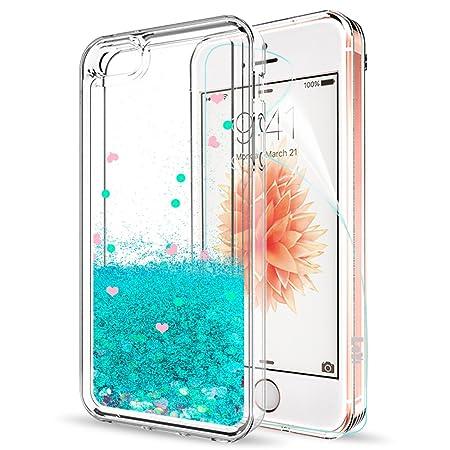 LeYi Hülle iPhone 5S / iPhone SE/iPhone 5 / iPhone SE 2 Glitzer Handyhülle mit HD Folie Schutzfolie,Cover TPU Bumper Treibsan