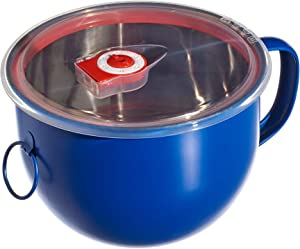 Blue. Purple Bird International Stainless Steel Bowl with Handle and Leakproof Lid. 44 Ounce. Salad Bowl, Food Storage, Noodles, Soup, Mixing, Batter Prep Bowl, Bento, Ramen Noodle Cooker