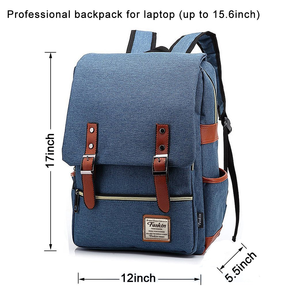 Unisex Professional Slim Business Laptop Backpack, Feskin Fashion Casual Durable Travel Rucksack Daypack (Waterproof Dustproof) with Tear Resistant Design for Macbook, Tablet - Blue by Feskin (Image #2)