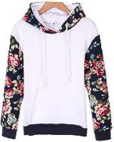 Zeagoo Mode Femmes Casual longue capuche manches Floral Patchwork vrac Loisirs Sport Sweat à capuche