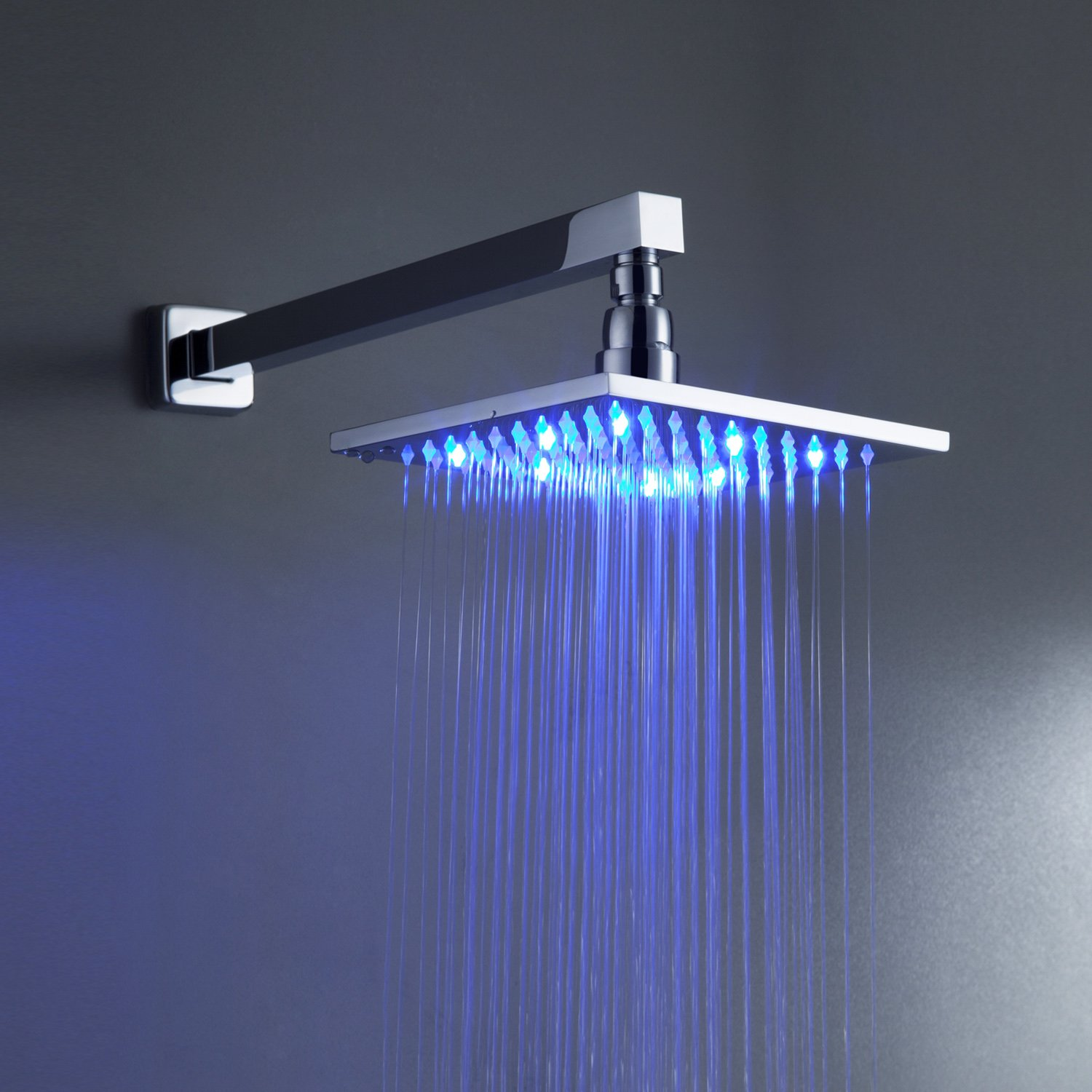 sprinkle color changing led shower faucet with wall mount square   - sprinkle color changing led shower faucet with wall mount square  inchfixed shower head handheld shower system arm and holder single handlelavatory