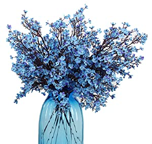 JAKY Global Babys Breath Fabric Cloth Artificial Flowers 6 Bundle European Fake Silk Plants Decor Wedding Party Decoration Bouquets Real Touch DIY Home Garden(Blue)