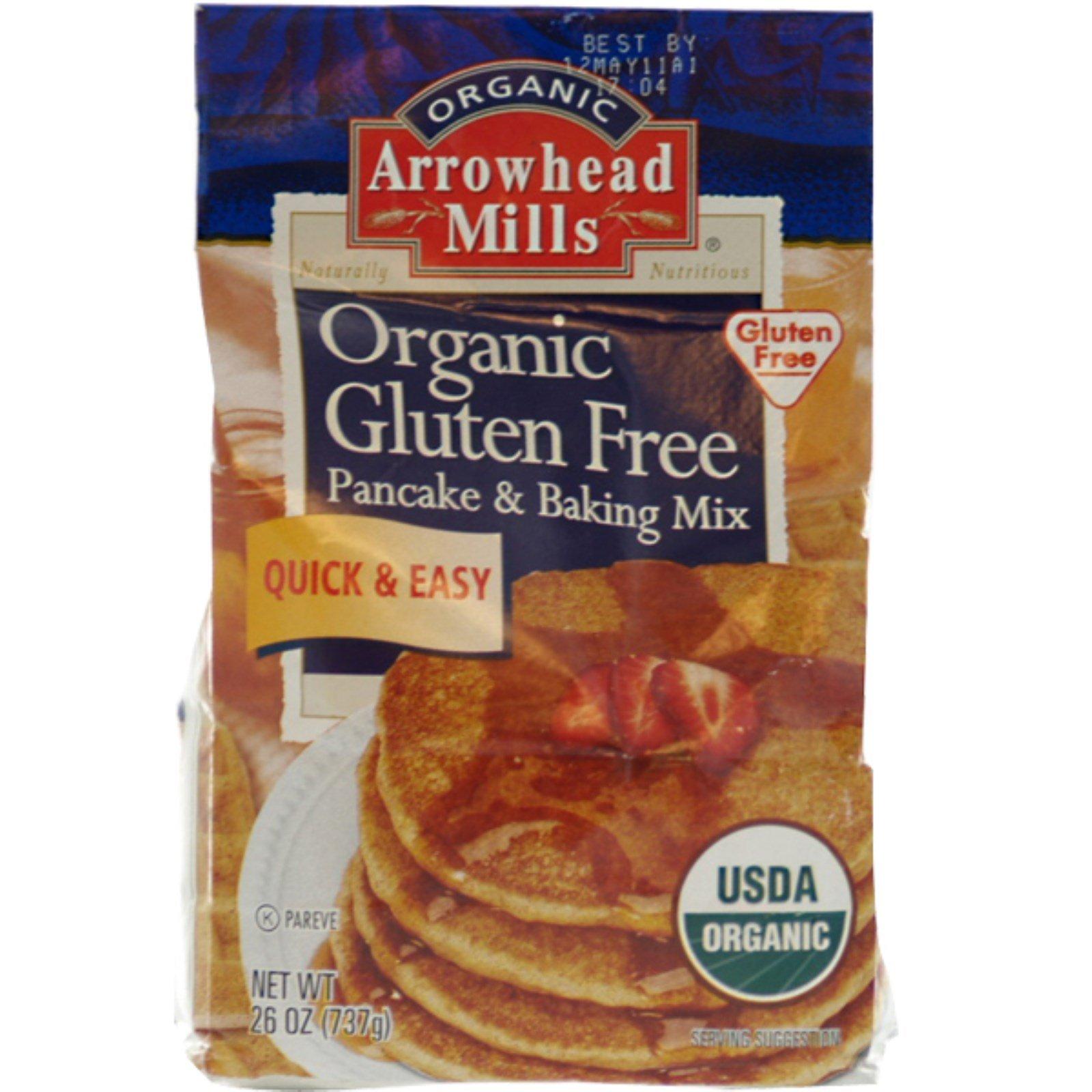 Arrowhead Mills, Organic Gluten Free Pancake & Baking Mix, 26 oz (737 g) - 2pcs