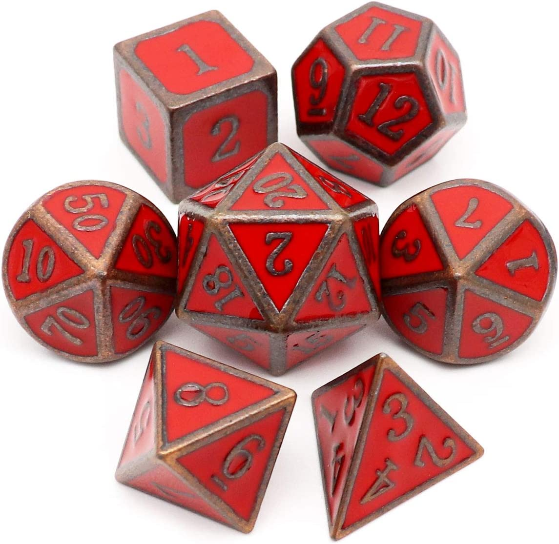 Haxtec Metal DND Dice Set D&D 7PCS of D20 D12 D10 D8 D6 D4 for Dungeons and Dragons TTRPG Games (Antique Copper Red)