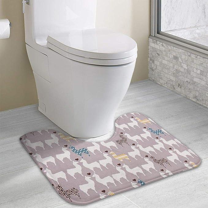 Non Slip Contour Bath Mat For Toilet, Grey Monaluna Llama Love Animal Soft  Absorbent Bathroom