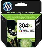 Hewlett Packard  304XL Tri-Colour Original, Cartucho de tóner adecuado para DJ3720, Multicolor (amarillo, magenta, cian), tinta