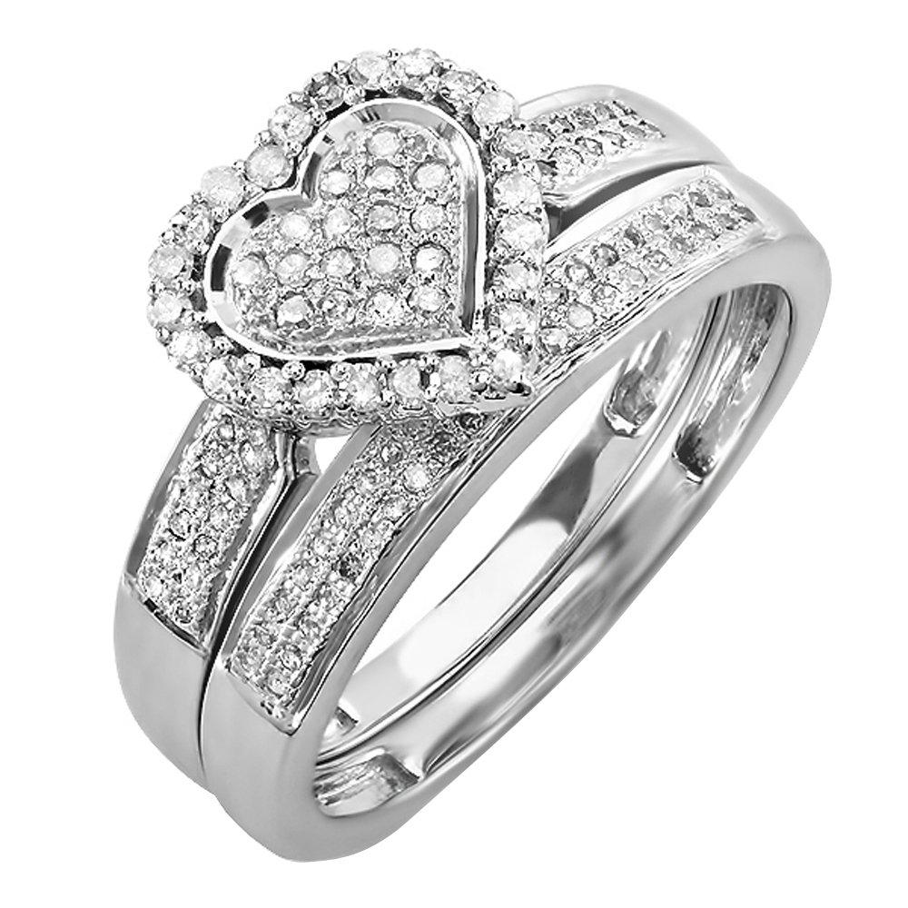 Dazzlingrock Collection 0.38 Carat (ctw) 10K Diamond Bridal Heart Shape...
