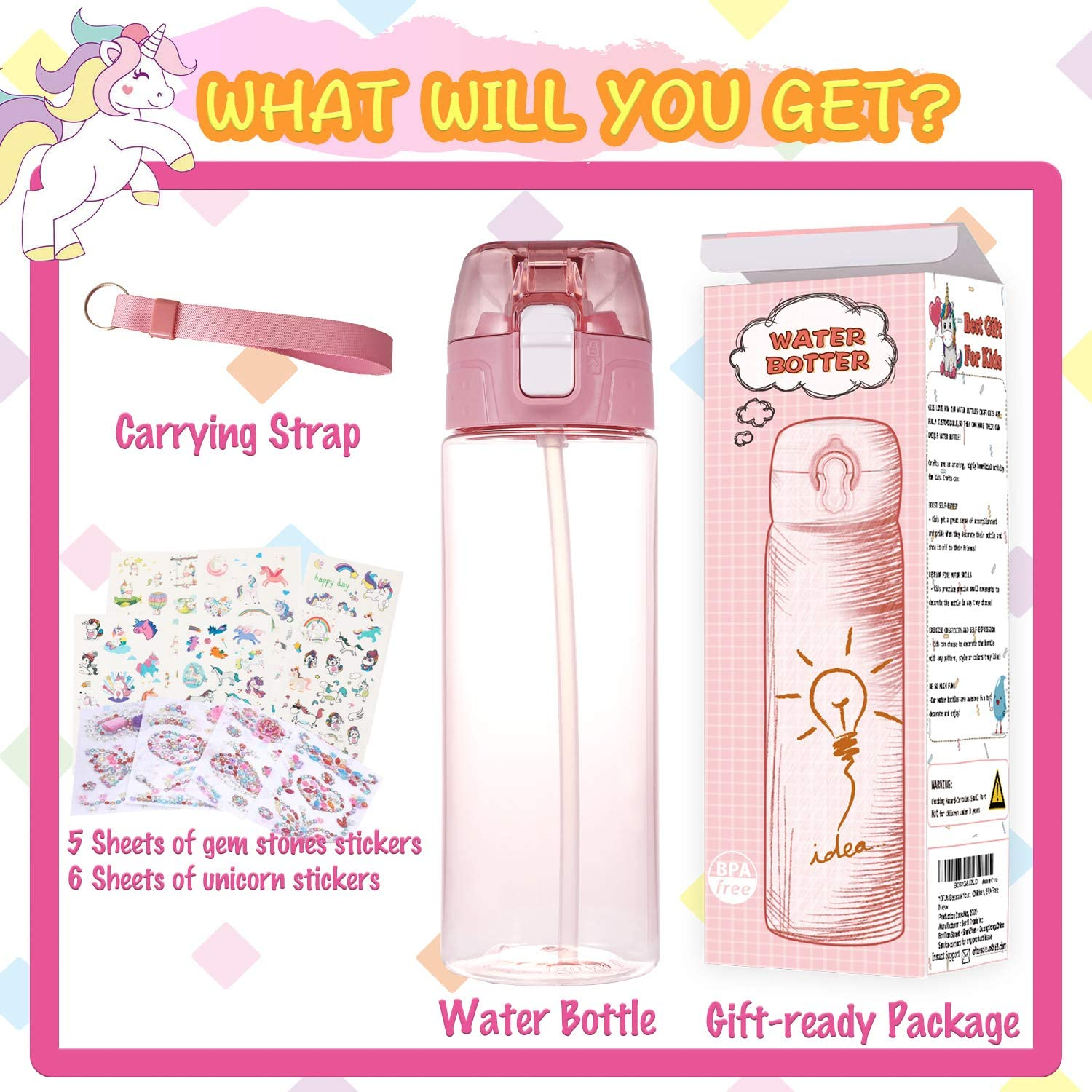Kids Craft Kit /& DIY Art 20 oz BPA Free Tritan Material Gift for Girl Age 4 5 6 7 8 9 10 Years Old YOFUN Decorate Your Own Water Bottle with Tons of Glitter Gem /& Unicorn Stickers