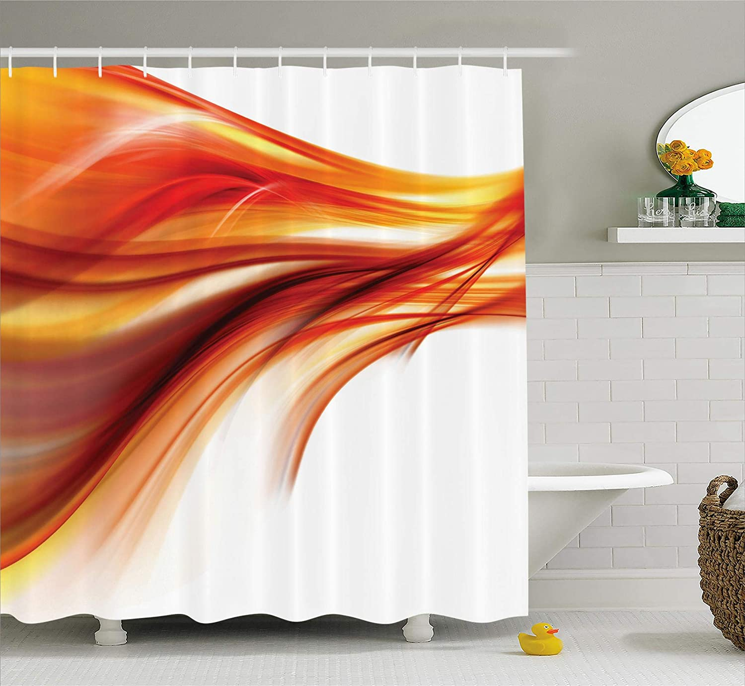 Ambesonne Abstract Shower Curtain, Modern Contemporary Smooth Lines Blurred Smock Art Flowing Rays Image, Polyester Fabric Bathroom Shower Curtain Set, 75 Inches Long, Dark Red Orange
