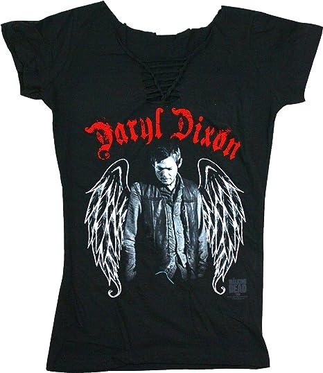 Ladies Walking Dead Daryl Dixon Heart Wings Licensed Tee T-Shirt Womens