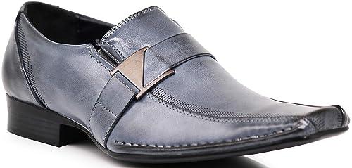 8e5140b6b3b8 Enzo Romeo Stone Men's Dress Loafers Elastic Slip on with Buckle Fashion  Shoes Runs Half Size Big