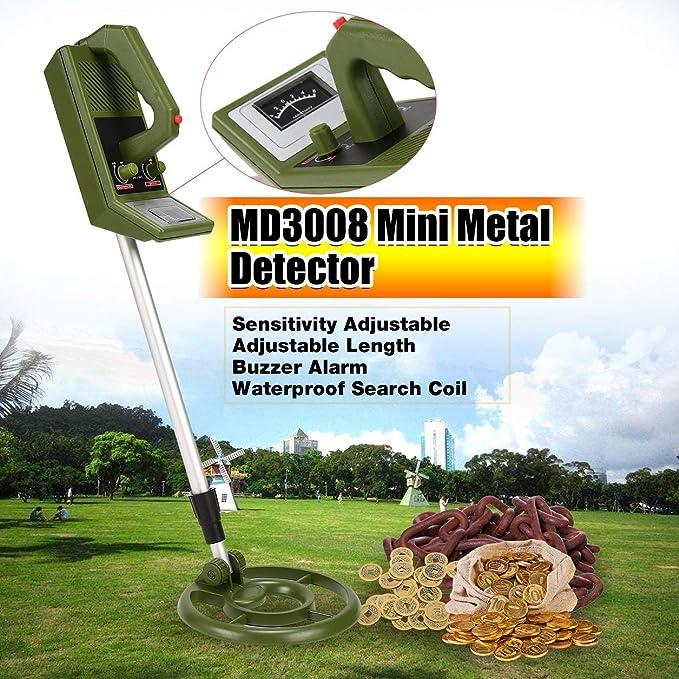 Dailyinshop MD3008 Detector de Metales portátil portátil Mini Detector de Mano Cazador de Tesoros Gold Finder buscador Ajustable Longitud (Color: Armygreen ...