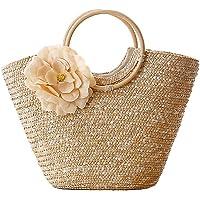 TOOGOO Femmes Sac a main en paille Sac fourre-tout tisse avec fleurs de la palge d'ete Messenger Panier Sac d'achat