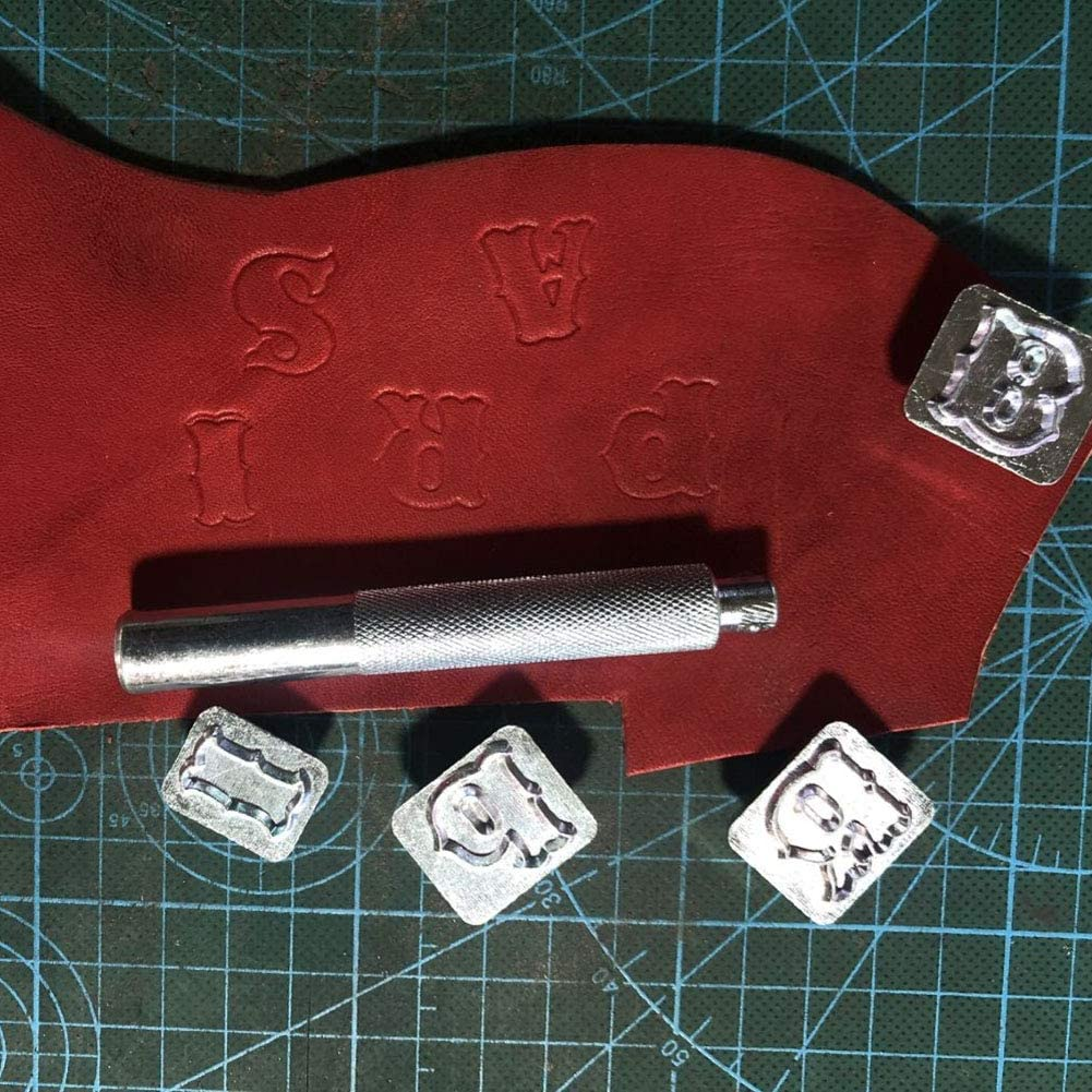Syfinee Carving Leather Seal Letters Alphabet Number Logo Stamp Handmade Durable DIY Tool Carving Leather Art Alphabet Set Letters Stamp Handmade Durable Portable Metal DIY Tools