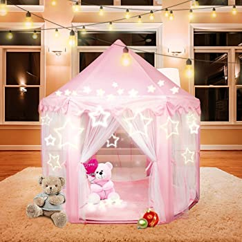 Beebeerun Princess Tent Kids Playhouse Hexagon Pink Castle Play Tent