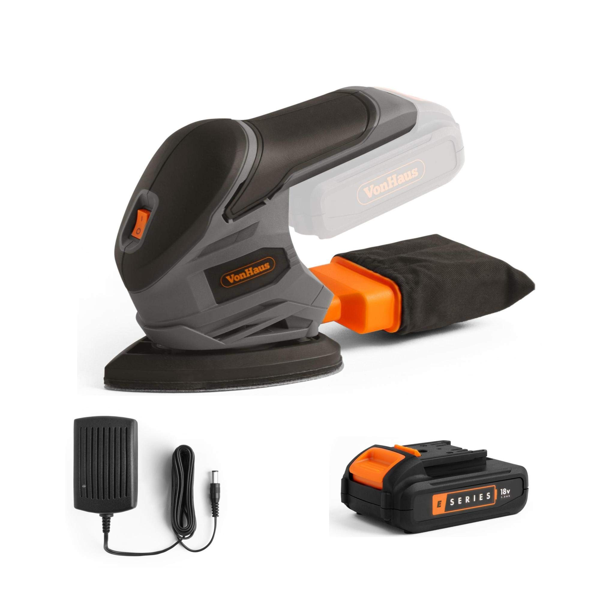 VonHaus Cordless Sander E-Series 18V – Detail Palm Sanding Machine - 1.5 Ah Battery and Charger Included