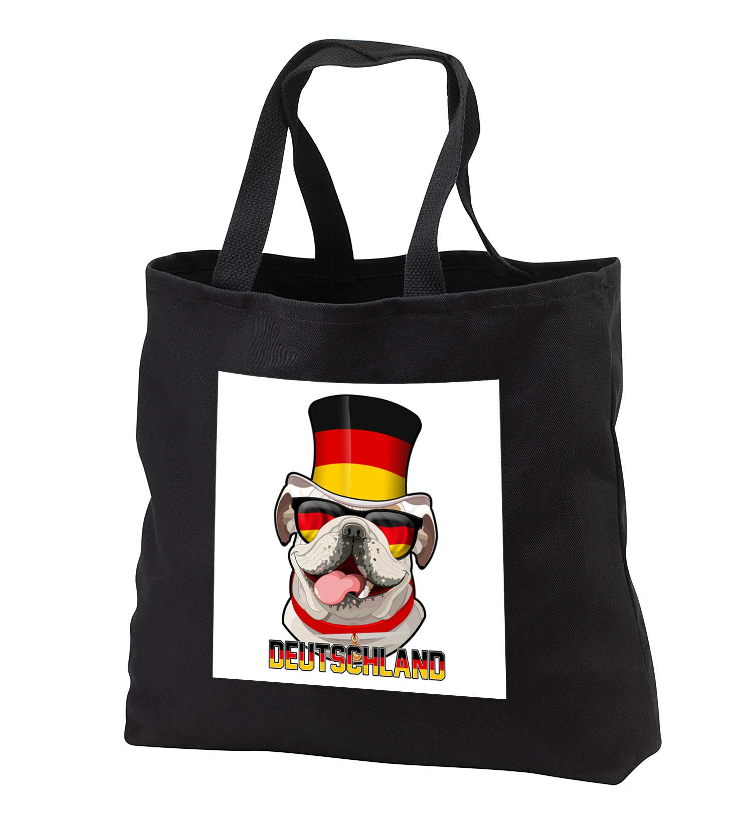 Carsten Reisinger - Illustrations - Germany English Bulldog with German Flag Top Hat and Sunglasses - Tote Bags - Black Tote Bag JUMBO 20w x 15h x 5d (tb_293425_3)
