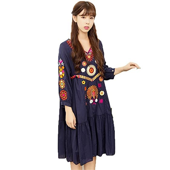Bikifree Dresses Women Mexican Dresses New Runway Dress People Luxury Embroidery Midi Dresses Hippie Chic Clothing