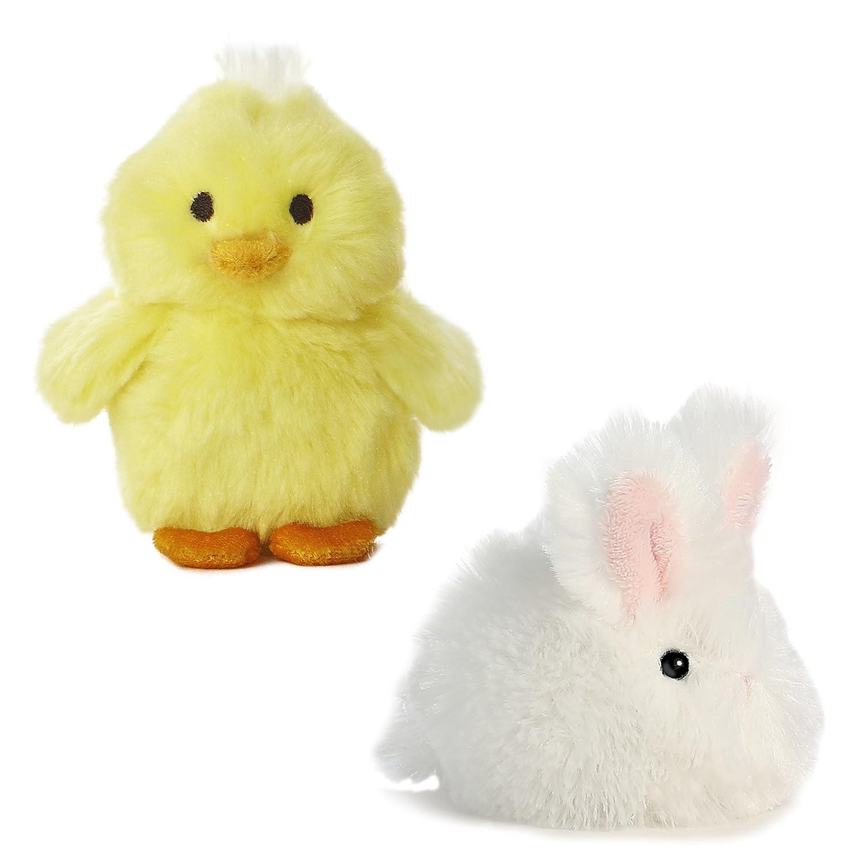 Set of 2 Aurora Sound Plushies White Bunny Puff 3 And Yellow Chirpin Chick 3.5