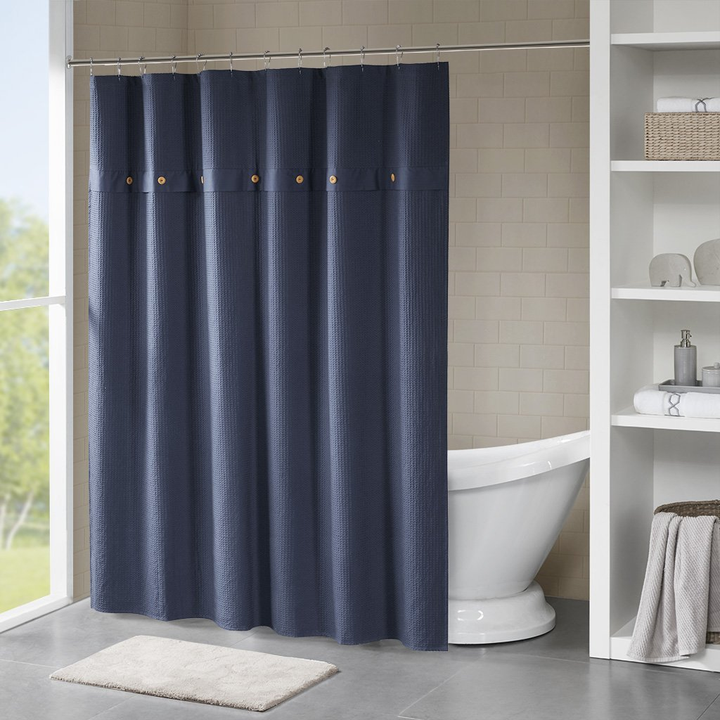 Madison Park Finley 100% Cotton Waffle Weave Textured Shower Curtain Navy 72x72