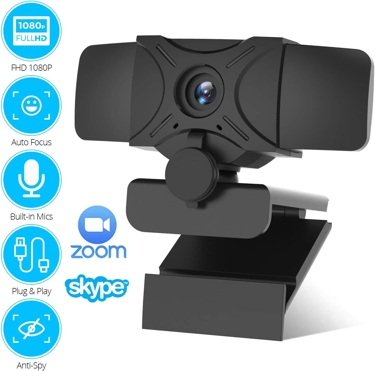 Webcam with Microphone Autofocus 1080P HD USB Webcams with Privacy Cover PC Desktop Laptop Computer Streaming Web Camera for Windows Mac OS Webcam for Video Calling Conference Gaming Online Classes