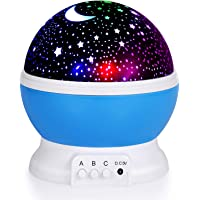 TOPLUSS LED Night Light Moon and Star Romantic Rotating Sky Cover Projector (Blue)