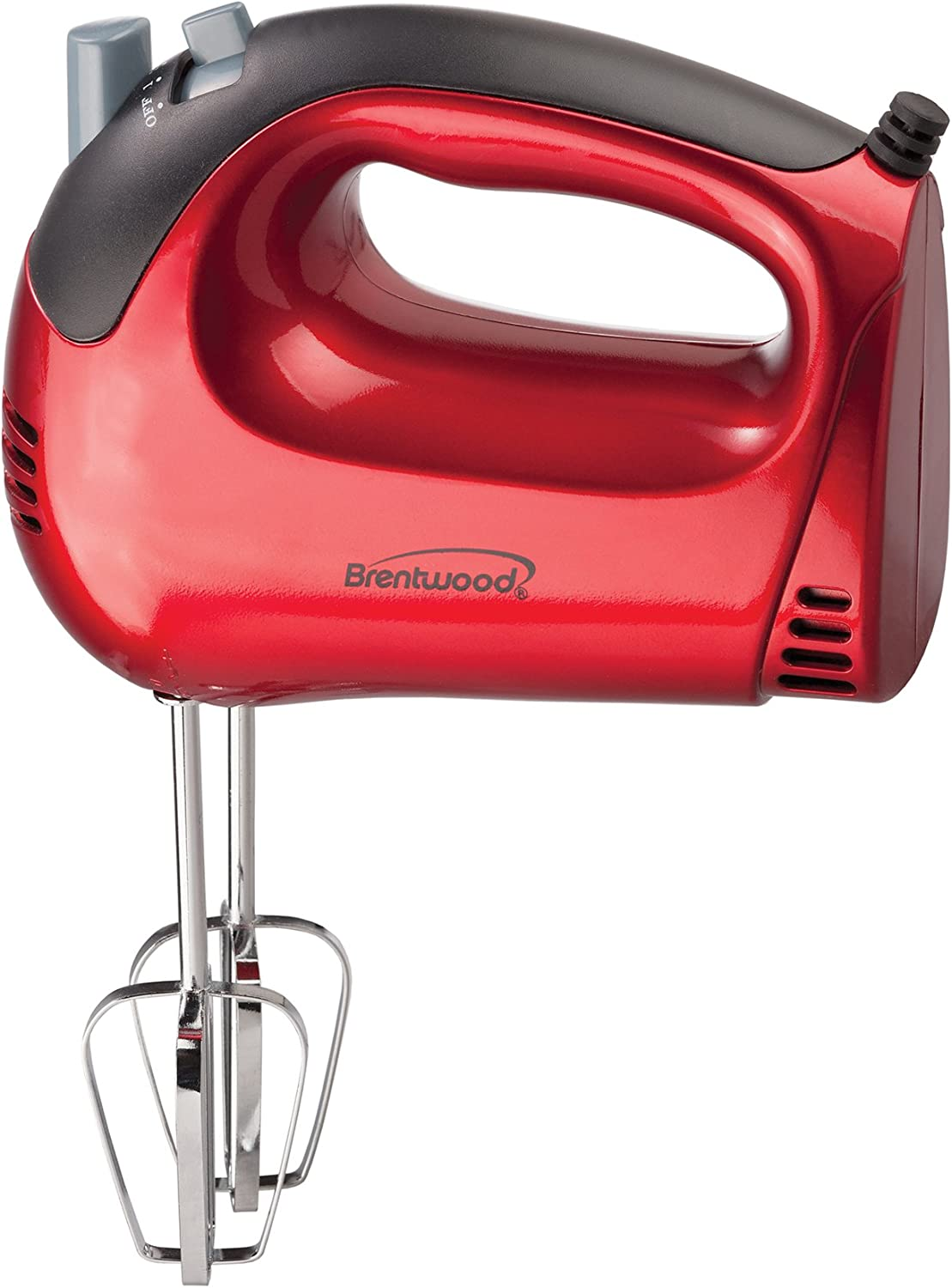 Brentwood HM-46 Electric Hand Mixer, Lightweight 5-Speed, Red