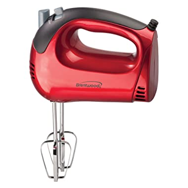 Brentwood Appliances HM-46 5-Speed Red Hand Mixer