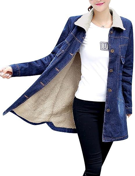 Amazon.com: Tanming - Chaqueta vaquera de jean para mujer ...
