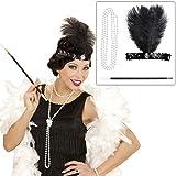 Kit costume Charleston avec bijou de tête, collier et porte-cigarette tenue années 20 30 habits mode Gatsby femme accessoire pour cheveux franges ruban plumes bijou