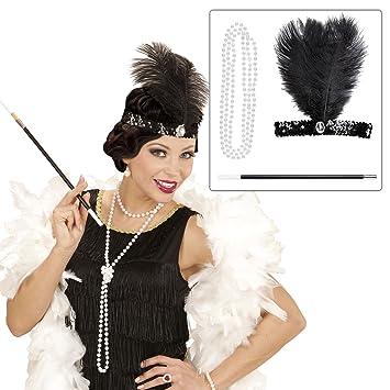 Set carnaval Charleston con adorno para la cabeza, collar y boquilla ropa años 20 30