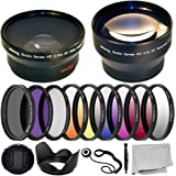 Ultimaxx 55MM Complete Lens Filter Accessory Kit with 55MM 2.2X Telephoto.43x Wide Angle/Macro Lenses, and More Designed for Nikon D3400 D5600 D7500 Camera with Nikon AF-P DX 18-55mm Lens