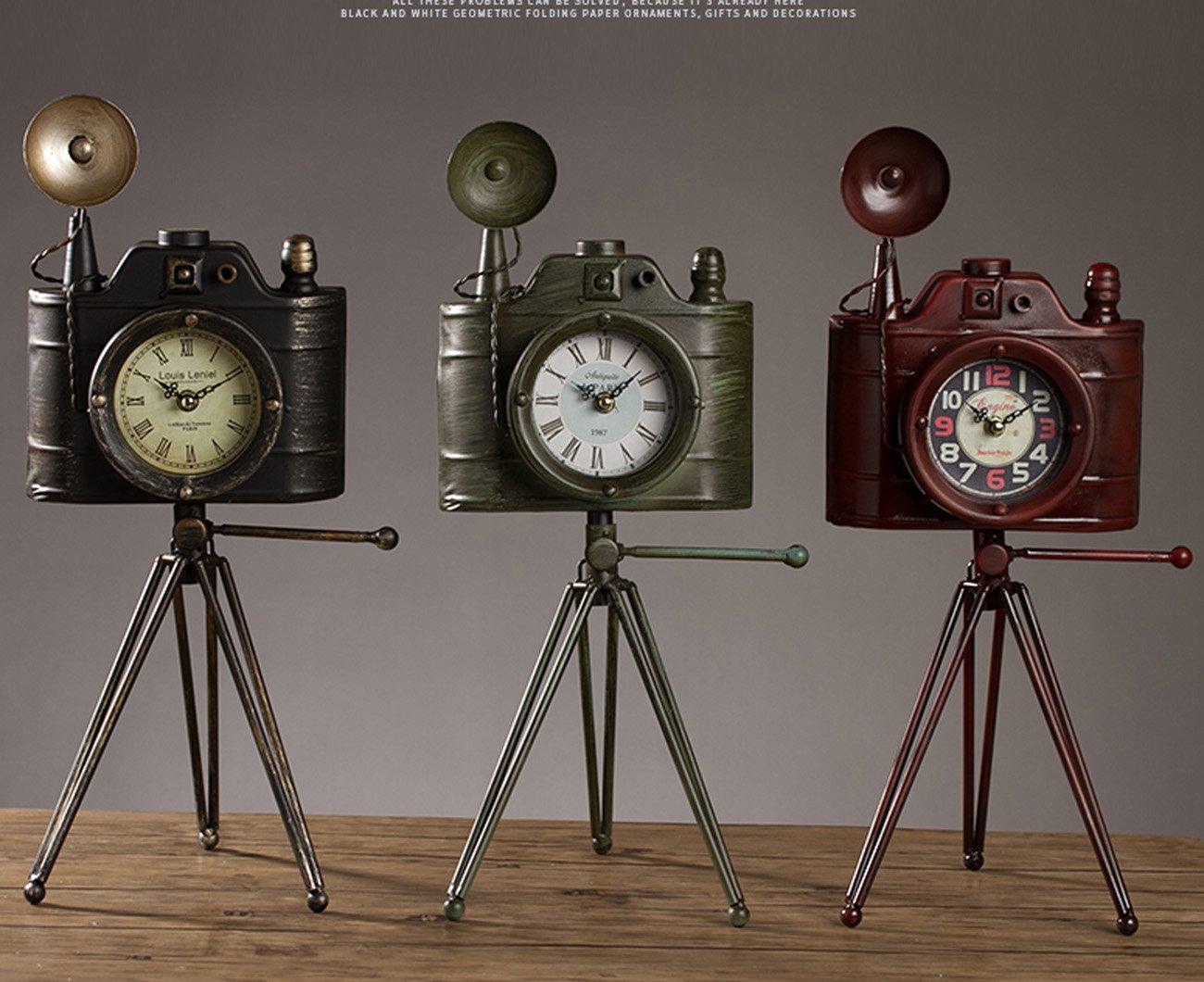 クロック ヴィンテージアイアンカメラモデルクロック、クリエイティブリビングルームのベッドルームサイレントデコレーションテーブル時計、オールドバーカフェショップのウィンドウの装飾棚の時計(24 * 19 * 49センチメートル) ウォールオーナメント (色 : 緑) B07F5RKJJB 緑 緑