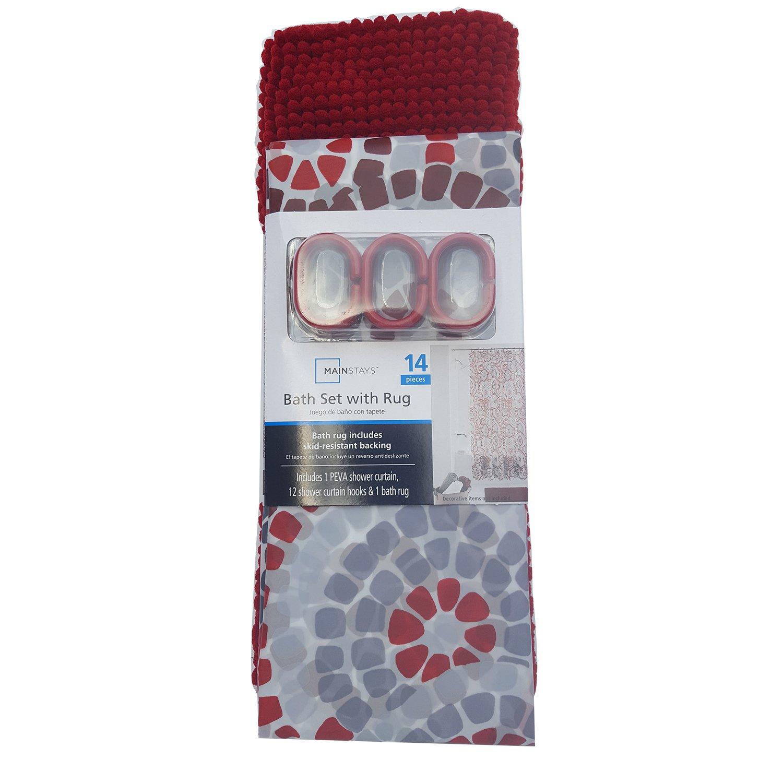 Amazon.com: Mainstays Shower Curtain & Rug Bath Set - Red: Home ...